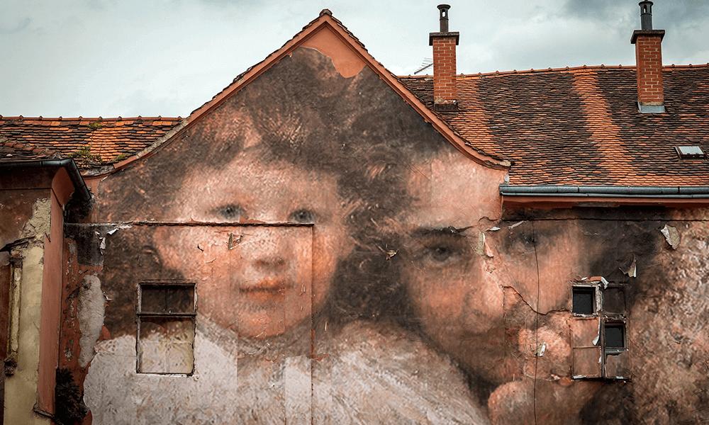 Muurschilderingen in Zagreb in Kroatie