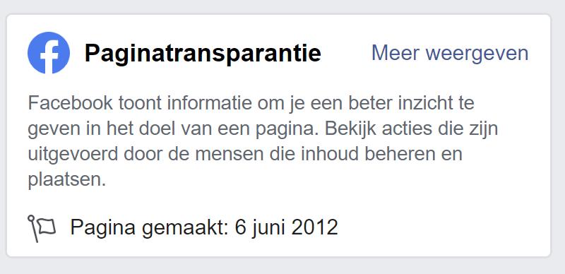 Paginatransparantie Facebook